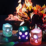 LUNSY Halloween deko Led Kerzen Skelett Kerzenlicht 12LED Flackern Tee Lichter für Weihnachten Halloween Party schrecklichAtmosphäre … - 6