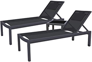 Outdoor Sunbed Adjustable Lounger Day Bed Pool Beach Patio Furniture Setting (Set of 2, Cream White)