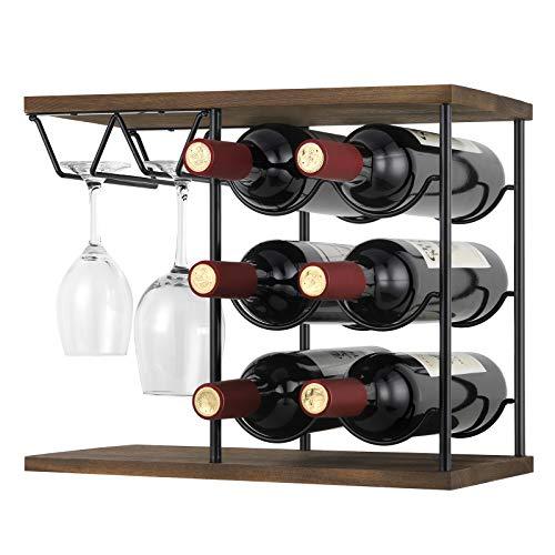 Terby Botellero de vino, soporte para encimera, soporte para botellas de madera, hierro y vidrio, capacidad para 6 botellas de vino estándar y 4 vasos, para cocina, decoración del hogar, bar, bodega