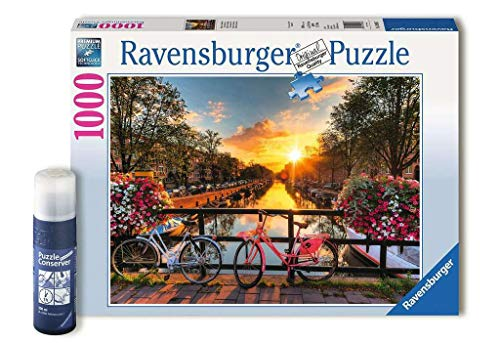 Ravensburger Fahrräder in Amsterdam 82092 1000 Teile Premium Puzzle für Erwachsene Puzzle Conserver Permanent zum Fixieren
