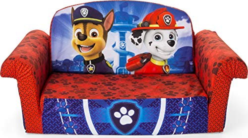 Marshmallow Furniture 2-in-1 Flip Open Foam Couch Bed Sleeper Sofa Kid's Furniture for Ages 18 Months and Up, Paw Patrol