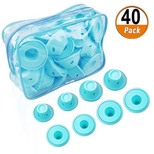 40 Stücke Blau Magie Lockenwickler Silikon Magic Haarspulen Haar Roller Silikon Ohne Hitze Haarpflege DIY Styling-Tools Set Für Kurze Lange Haare (20 Große und 20 Kleine Silikon Lockenwickler)