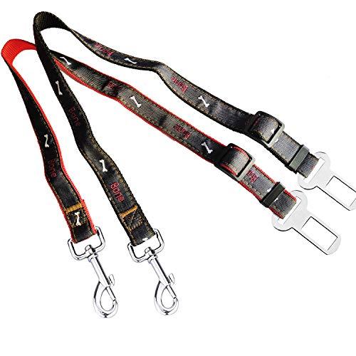 GOOMAND ペット 犬・猫用 シートベルト(2本セット) ペット カーシートベルト 車内専用 サイズ 調整可能 簡単なインストール ペット用シートベルト