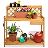 Best Choice Products Outdoor Garden Potting Bench, Wooden Workstation Table w/Cabinet Drawer, Open Shelf, Lower Storage, Lattice Back - Natural