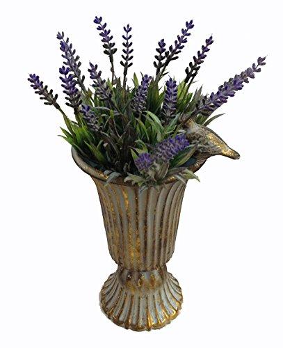 GMMH Pokal Amphore Dekovase Vase Blumenvase Antik Metall Vintage Deko Retro Design (Gold)