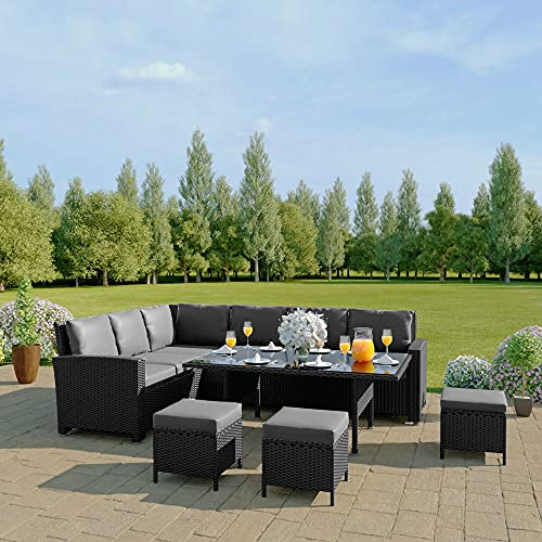 Abreo 9 Seater Corner Rattan Dining Set Garden Sofa Furniture Black Brown Grey (Black with Dark Cushions) INCLUDES OUTDOOR WATERPROOF COVER