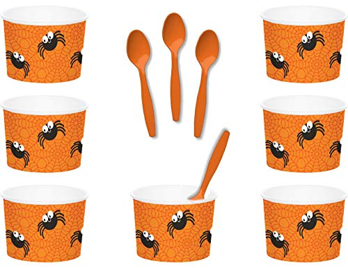 Halloween Spider Themed Paper Ice Cream/Dessert/Snack Serving Bowls With Spoons Bundle - 24 Total