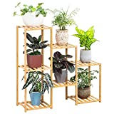 Bamboo 7 Tier Plant Stand Rack Multiple Flower Pot Holder Shelf Indoor Outdoor Planter Display Shelving Unit for Patio Garden Corner Balcony Living Room