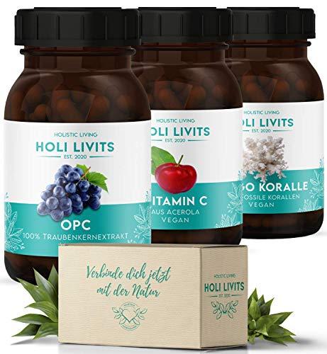Vitamin C + OPC + Sango Meereskoralle 330 Kapseln, natürliche und hochdosierte Antioxidantien, Traubenkernextrakt, Magnesium + Calcium