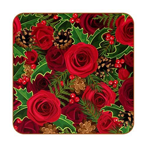 Posavasos de piel sintética con diseño de rosas retro para bebidas, 6 unidades, cuadrados para bebidas, tazas para el hogar o el bar, regalo de inauguración de la casa