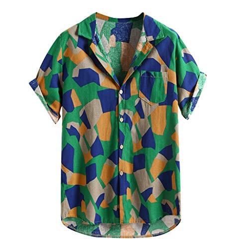 Yowablo T-Shirt Herren gedruckte hawaiianische Baumwolle Leinen lose Kurzarm Casual Buttons (XL,4Grün)