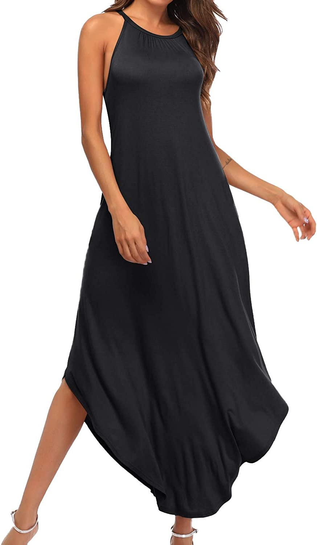 YiNai Womens Casual Summer Halter Maxi Loose Dress Beach Cami Dress with Pockets