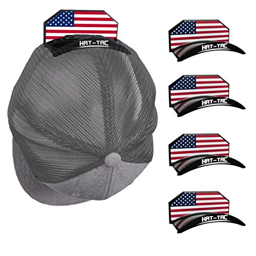HAT-TAC - Wall Hat Rack Organizer (4-Pack) MADE IN USA Patented Baseball Cap Multi-Purpose Curved Shelf Hanger for Door, Closet, Office, Bedroom, Sturdy Clip Decor Mount System (USA Flag Design)