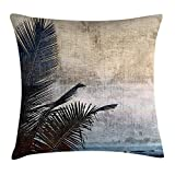 HOJJP Funda de Almohada Hawaiian Throw Pillow Cushion Cover, Palm Tree Leaves on Grunge Background Sea Vintage Waterscape Illustration, Decorative Cushion Cover Pillowcase Sofa 18'x 18', Beige Navy