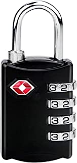COMLIFE Candado de Combinación de Seguridad TSA Lock Bloqueo de Contraseña de 4 Dígitos para Equipaje Maleta, Bolso del Recorrido y Armario del Gimnasio, Negro