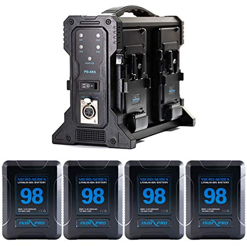 IndiPRO Four Micro-Series 98Wh V-Mount Li-Ion Battery and Quad Pro Charger Kit