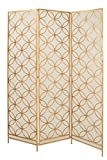Deco 79 Modern Metal 3-Panel Room Divider, 79' H x 57' L, Textured Gold Finish