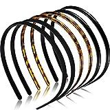 6 Piezas Diademas de Plástico Liso Diademas de Peine de Dientes Bandas de Cabello Flacas de Bricolaje para Mujer Niña(Estampado de Leopardo Café, Negro, Caucho Negro, 8 mm)