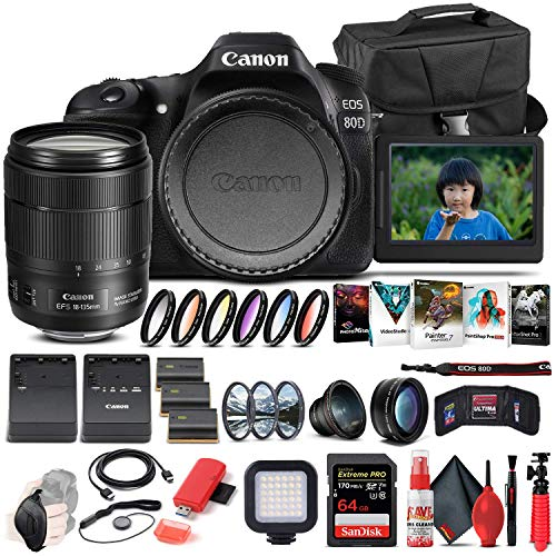 Canon EOS 80D DSLR Camera with 18-135mm Lens (1263C006) + 64GB Memory Card + Case + Corel Photo Software + 2 x LPE6 Battery + External Charger + Card Reader + LED Light + Filter Kit + More (Renewed)