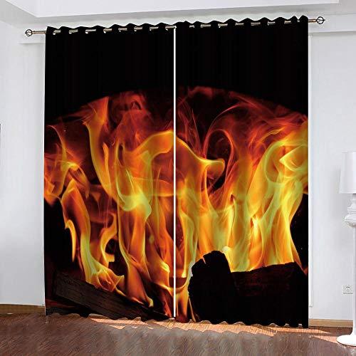 zpangg Verdunkelungsvorhang Kräuselband Wütendes Feuer Mit Ösen Gardine Für Schlafzimmer, Kinderzimmer 2 Stück Verdunkelungsvorhänge Farbige Vorhänge 150×166Cm