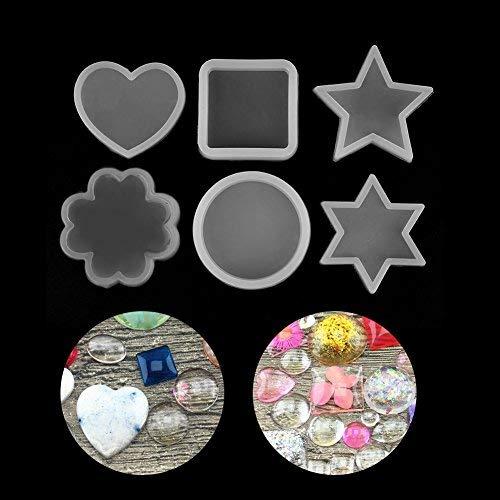 HEEPDD siliconenvorm, 6 soorten cirkels vierkant hart ster hexagram bloem vorm siliconen vorm taart decoratie voor DIY handgemaakte decoratie