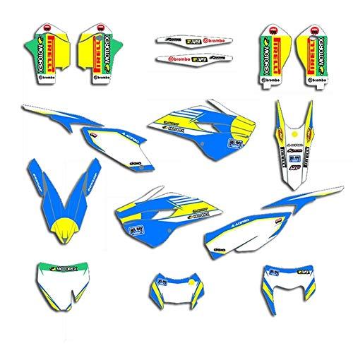 LQCHH Durable For Husqvarna TE FE TC TE 125 250 350 450 2014 2015 Equipo de la Motocicleta Calcomanías gráficos Conjunto de Etiquetas Deco Elegante (Color : Blank)