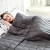 """Fabula Life Adult Weighted Blanket(15lbs, 80""""x60"""", Queen Size), Heavy Blanket with Premium Breathable Cotton and Micro Glass Beads, Calm Deep Sleep"""