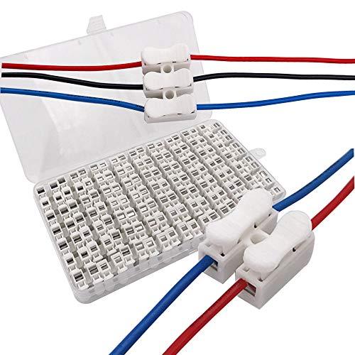 Senven 63Pcs Conector Cable Resorte, Bloque de Terminal Rápido de Resorte 10A, Iluminación, Fuente de Alimentación y Conexión de Cableado del Automóvil – 56Pcs CH2 + 7Pcs CH3.