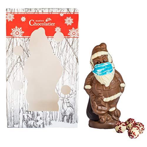 Martin's Chocolatier Schokolade Weihnachtsmann mit Gesichtsmaske | Festliches Schokoladengeschenk | Weiße Schokoladentrüffel | Milchschokolade, Weiße Schokolade und Dunkle Schokolade