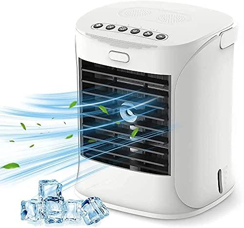 Aire acondicionado portátil, enfriador de aire evaporativo con refrigeración y humidificador, mini aire acondicionado con luz LED 3 velocidades con luz colorida para el hogar, oficina, habitación