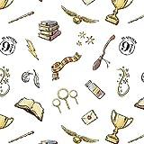 Harry Potter Stoff – CAM476 Zaubererbilder weiß – 0,5
