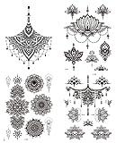 4 hojas de tatuajes para el pecho Underboob tatuajes Mandala flores de loto tatuajes Kelly 4
