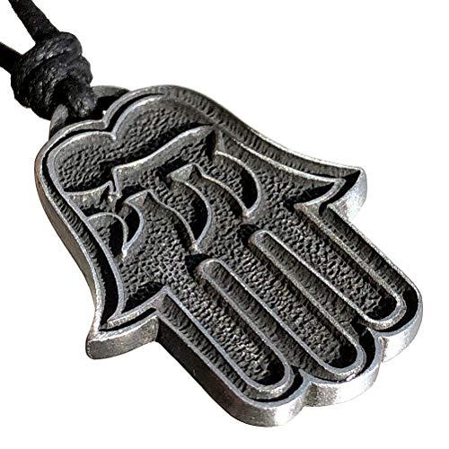 Hamsa Hebrew Chai Magic Protection Amulet Jewelry Hamza Khamsa God Palm Hand of Fatima Power Strength Deflecting Evil Eye Pewter Men's Pendant Necklace Lucky Charm Wealth Talisman with Adjustable Cord