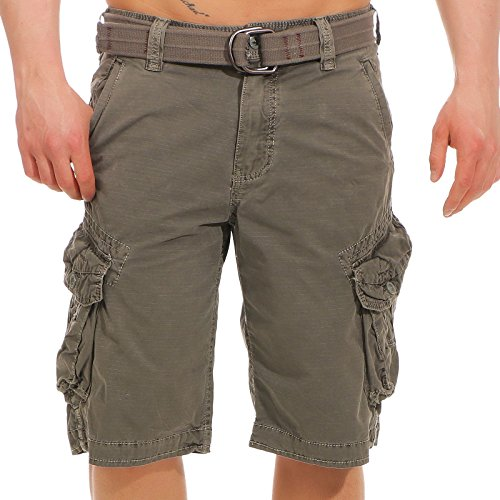 Jet Lag Herren Cargo Shorts Bermuda Take off 3 (18) kurze Hose mit Canvas-Gürtel dark grey W42