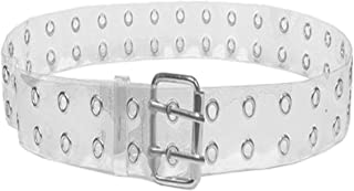 Women Grommets-Belts Transparent Waist-Belt Punk Style Double Pin Buckle Belt for Jeans/Dresses