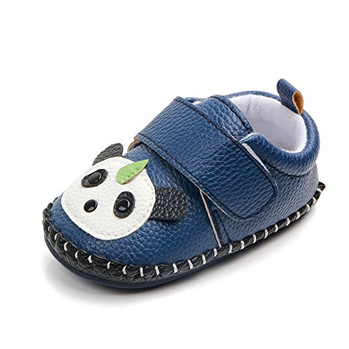Lidiano Baby Non Slip Rubber Sole Cartoon Walking Slippers Crib Shoes Infant/Toddler (12-18 Months, Blue Panda)