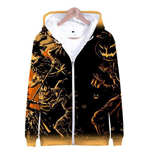 Z-MENG Herren Herren-Jacken Sportjacken für Herren Halloween Print Langarm Zip Hoodie Fashion Herbst Winter Sport Jacke Sweater Jacke Casual Cotton Jacket (XXXXL, Gelb)