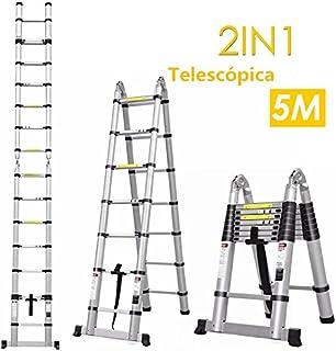 comprar comparacion FIXKIT 5M(2,5M+2,5m) Escalera Plegable Aluminio, Escalera Telescópica, Escalera Alta Multifuncional Portátil para Loft,16 ...