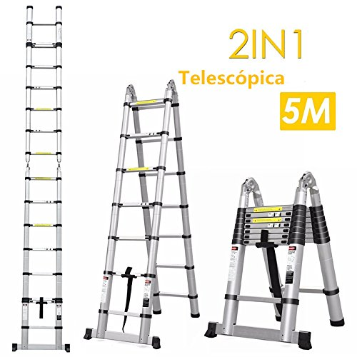 FIXKIT 5M(2,5M+2,5m) Escalera Plegable Aluminio, Escalera Telescópica, Escalera Alta Multifuncional Portátil para Loft,16 Escalones Antideslizantes y Ruedas en Parte Inferior, 150kg
