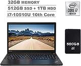2020 Lenovo ThinkPad E15 15.6' FHD Full HD (1920x1080) IPS Business Laptop (Intel 10th Quad Core i7-10510U, 32GB DDR4 RAM, 512GB PCIe SSD+1TB HDD) Fingerprint, Type-C, HDMI, Windows 10 Pro+IST 500GB