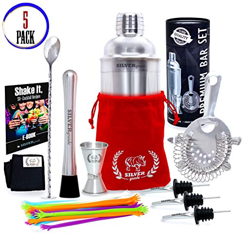 Professional all Inclusive Bartender Kit - Premium Quality- Stainless Steel Construction- Luxury Bag - Cocktail Shaker and all the Accessories you Need - 5 Pack