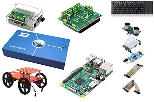 kit per auto robot Maker-Sphere 4WD per Raspberry Pi 3 con motore scudo, 16GB microSD Card con Raspbian, Ultrsonic Sensor, sensore IR, sensore PIR, Tastiera, 20 maschio a femmina e femmina a 20 ponticello femminile