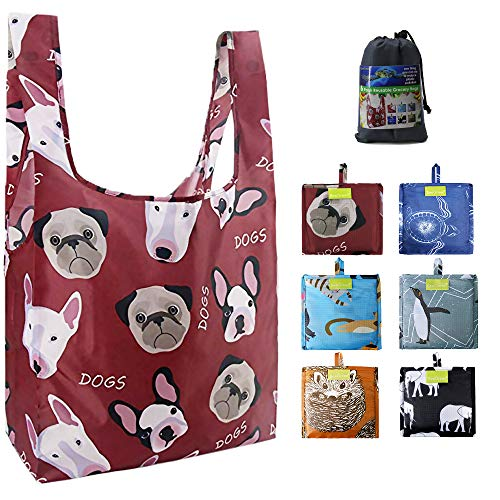 Grocery Shopping Bags Lightweight Sturdy Reusable Tote Bags Foldable with Attached Pouch...
