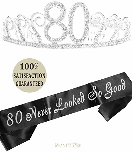 80th Birthday Gifts for Women, 80th Birthday Tiara and Sash, HAPPY 80th Birthday Party Supplies, 80th Black Satin Sash and Crystal Tiara Birthday Crown for 80th Birthday Party Supplies and Decorations