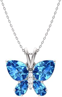 Natural and Certified Gemstone and Diamond Butterfly Petite Necklace in 14k White Gold | 1.04 Carat Pendant with Chain