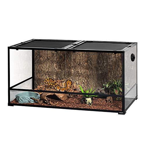 REPTIZOO Large Glass Reptile Terrarium 48' x 24' x 24', Tall & Wide Reptile Habitat Tank 120 Gallon with Sliding Door Screen Ventilation