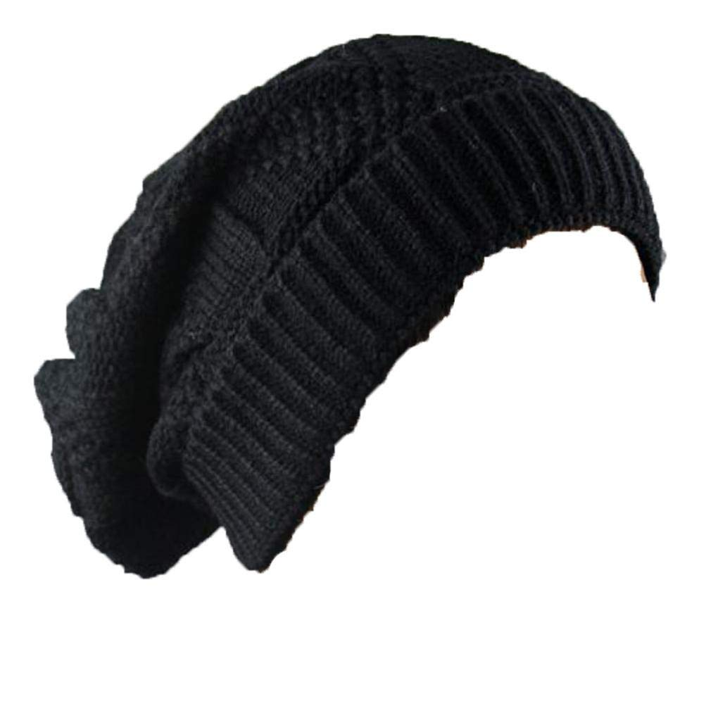 Knit Hats for Men Women Winter Womens Outdoor Lingge Acrylic Hip Hop Knitted Caps Trend Cap Hat Keep Warm Unisex Fashion Wool Black XGao Knit Hat Men Knit Hats for Women Winter