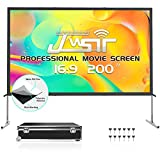 Projector Screen with Stand 200 inch, Upgraded 3 Layers 200 inch 4K HD 16:9 Outdoor/Indoor Portable Front Projection Screen, Foldable Projection Screen with Carry Bag for Home Theater Backyard Movie