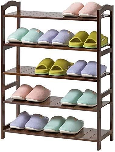 Wddwarmhome Zapatero de bambú de 5 capas, ideal para pasillos, baños, salas de estar, dormitorios y pasillos (tamaño: 50 x 25 x 88 cm)