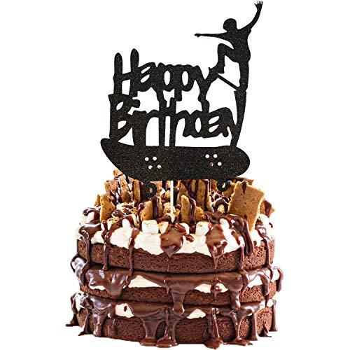 Skateboard Cake Topper, Black Glitter Happy Birthday Skateboard Cake Topper for Skateboard Birthday Party Cake Decorations, Sport Birthday Party Supplies
